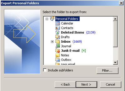 Choose Personal Folders